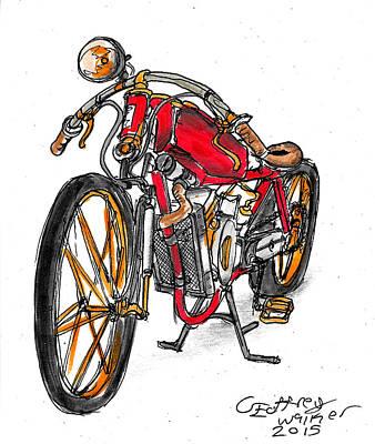Headlight Mixed Media - Motor Bike by Geoffrey Walker