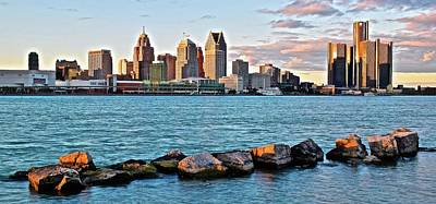 Photograph - Motor City Pano From Canada by Frozen in Time Fine Art Photography