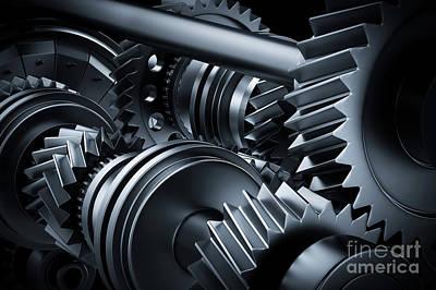 Detail Photograph - Motor, Engine Close-up. Gears, Cogwheels, Real Engine Elements by Michal Bednarek