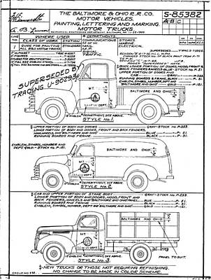 Drawing - Motor Vehicles by Baltimore and Ohio Railroad
