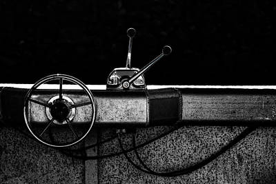 Photograph - Motorboat Black And White by Carol Leigh