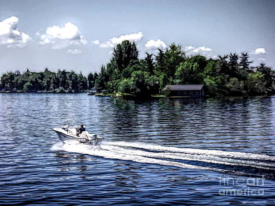 Row Boat Mixed Media - Motorboat On Saint Lawrence Seaway 1000 Islands by Rose Santuci-Sofranko