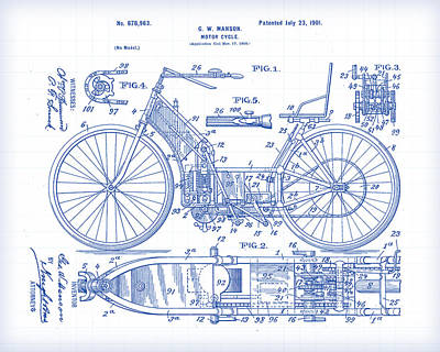 Painting - Motorcycle 2 Patent Drawing by Gary Grayson
