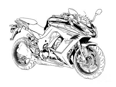 Bike Drawing - Motorcycle Art, Black And White by Pablo Franchi