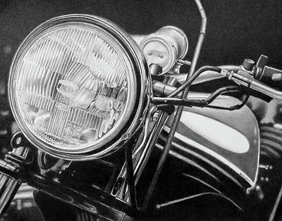 Drawing - Harley Davidson Headlight by Becky West