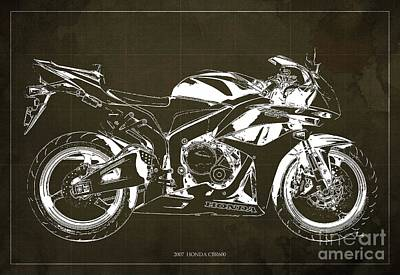 Motorcycle Blueprint Honda Cbr600 Gift For Him Gift For Her Art Print