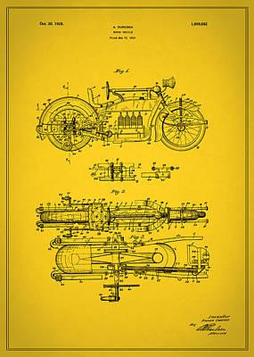 Motorcycle Design Patent 1928 Art Print