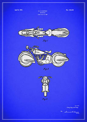 Harley Davidson Photograph - Motorcycle Design Patent 1940 by Mark Rogan