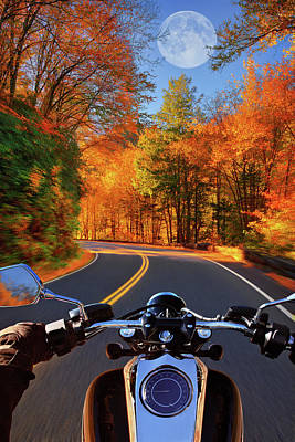 Photograph - Motorcycle Driving Through Fall Colored Road by Justin Kelefas