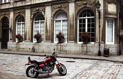 Old Montreal Photograph - Motorcycle In Old Montreal by John Rizzuto
