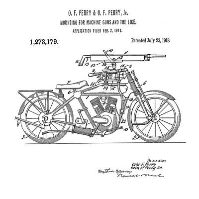 Digital Art - Motorcycle Machine Gun Patent 1918 by Bill Cannon