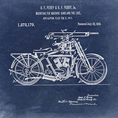 Digital Art - Motorcycle Machine Gun Patent 1918 In Blue by Bill Cannon