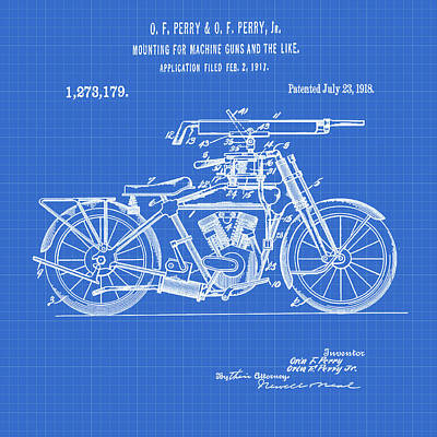 Digital Art - Motorcycle Machine Gun Patent 1918 In Blueprint by Bill Cannon