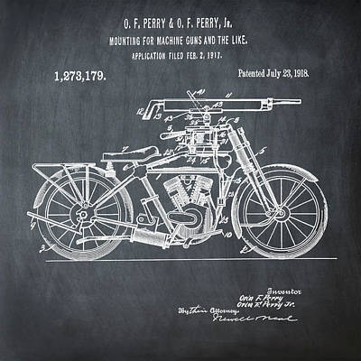 Motorcycle Machine Gun Patent 1918 In Chalk Art Print by Bill Cannon