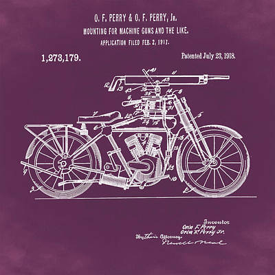 Digital Art - Motorcycle Machine Gun Patent 1918 In Red by Bill Cannon