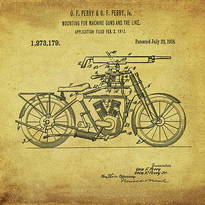 Photograph - Motorcycle Machine Gun Patent 1918 In Sepia by Bill Cannon