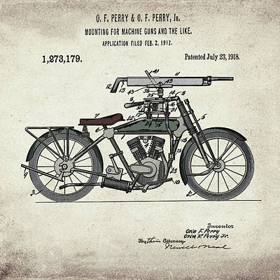 Digital Art - Motorcycle Machine Gun Patent 1918 In Vintage  by Bill Cannon