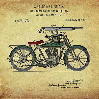 Digital Art - Motorcycle Machine Gun Patent 1918 In Vintage Sepia by Bill Cannon