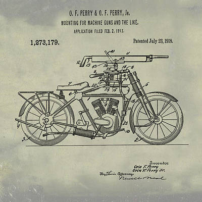 Digital Art - Motorcycle Machine Gun Patent 1918 In Weathered by Bill Cannon