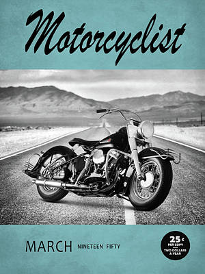 Motorcycle Magazine Harley 1950 Art Print