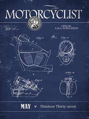 Motorcycle Magazine Harley Motorcycle Design 1937 Art Print