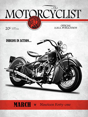 Motorcycle Magazine Indian Chief 1941 Art Print