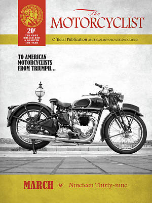 Motorcycle Magazine Triumph Speed Twin 1939 Art Print