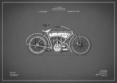 Motorcycle Patent 1914 Art Print by Mark Rogan