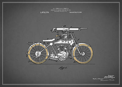 Harley Davidson Photograph - Motorcycle Patent 1918 by Mark Rogan