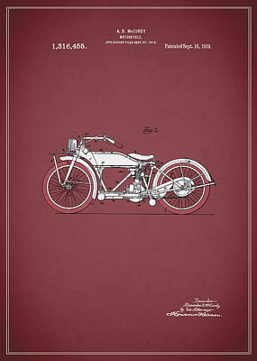 Harley Davidson Photograph - Motorcycle Patent 1919 by Mark Rogan