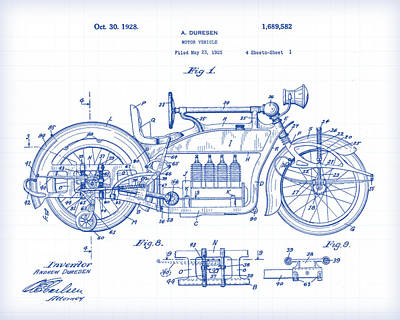 Painting - Motorcycle Patent Drawing by Gary Grayson
