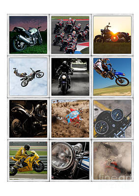 Grid Photograph - Motorcycle Poster by Edward Fielding