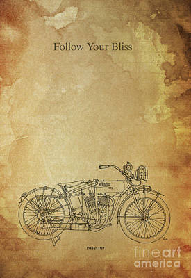 Pablo Drawing - Motorcycle Quote. Follow Your Bliss. Poster For Bikers by Pablo Franchi