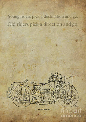 Motorcycle Quote. Young Riders Pick A Destination... Gift For Bikers Art Print by Pablo Franchi