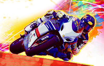 Painting - Motorcycle Racer by Gary Grayson