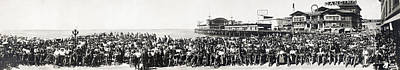 Motorcycle Rally - Venice Beach California - 1911 Art Print