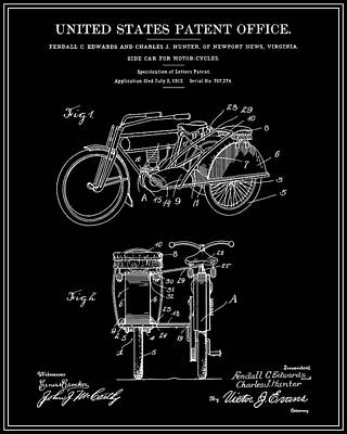 Motorcycle Sidecar Patent 1912 - Black Art Print by Finlay McNevin