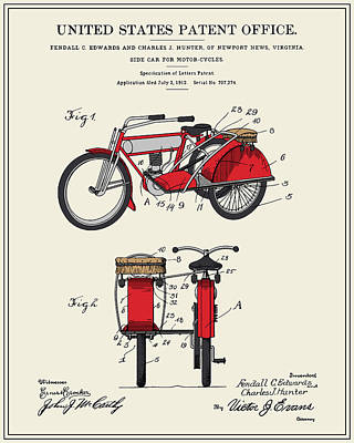 Motorcycle Sidecar Patent 1912 Art Print by Finlay McNevin