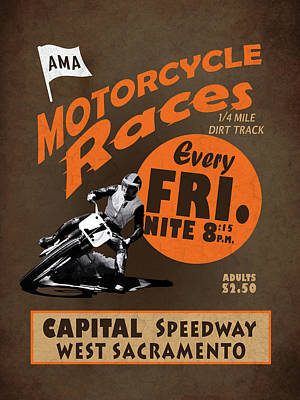 Sacramento Photograph - Motorcycle Speedway Races by Mark Rogan