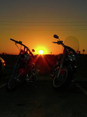 Photograph - Motorcycle Sunset by Kimo Fernandez