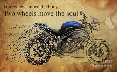 Transportation Digital Art - Motorcycle Triumph Street 2014 vanish by Drawspots Illustrations