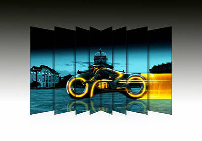 Tron Wall Art - Mixed Media - Motorcycle Tron by Marvin Blaine