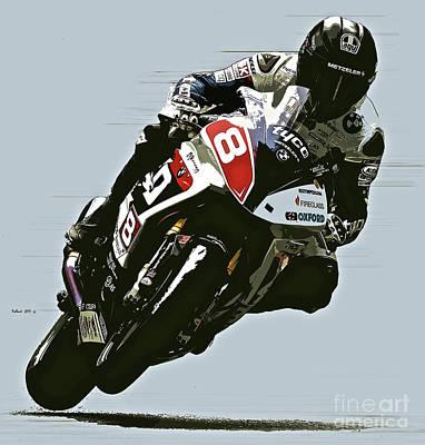 Motorcycle Wheelie, Red Number 8 Art Print