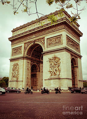 Photograph - Motorcycles And The Arc De Triomphe by Marina McLain