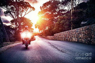 Photograph - Motorcyclist In Sunset Light by Anna Om