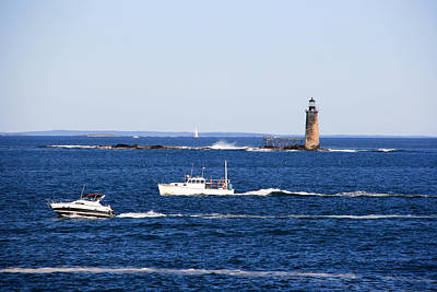 Photograph - Motoring By The Ram Island Ledge Lighthouse by George Jones
