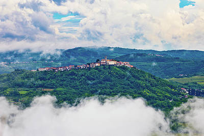 Photograph - Motovun Town In Clouds View by Brch Photography