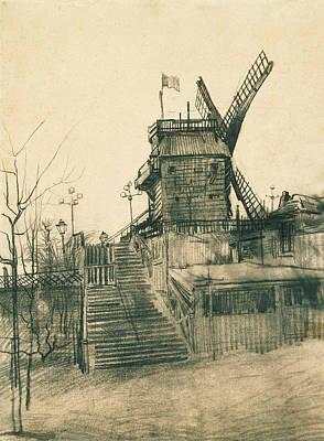 Van Gogh Drawing - Moulin De La Galette by Vincent van Gogh