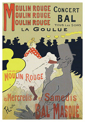 Les Ambassadeurs Mixed Media - Moulin Rouge, La Goulue by Henri Toulouse Lautrec