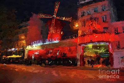 Paris Skyline Royalty-Free and Rights-Managed Images - Moulin Rouge, Paris, France by Mary Bassett